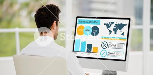 Composite image of computer graphic image of business presentation with charts and text