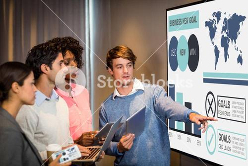 Composite image of computer generated image of business presentation with charts and text