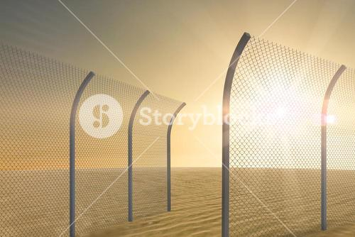 Composite image of bended chainlink fence 3d