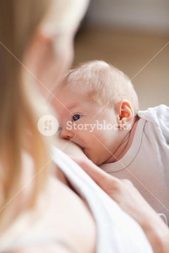 Baby getting breastfed
