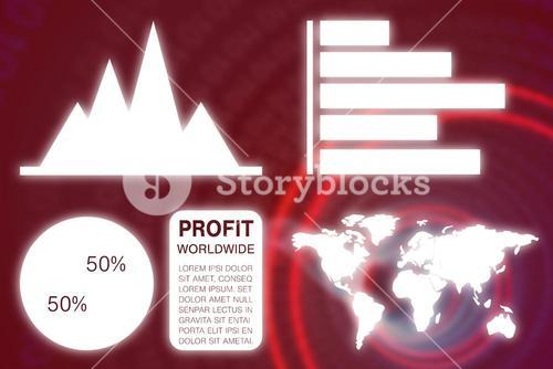 Composite image of graphic image of business presentation with charts and map