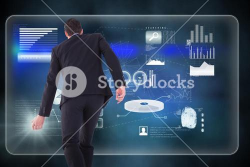 Composite image of rear view of businessman walking