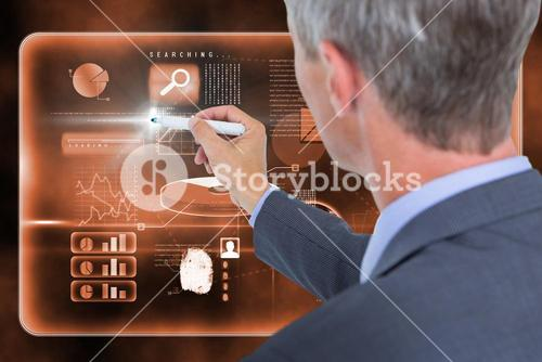 Composite image of businessman writing