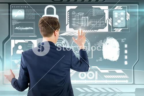 Composite image of wear view of businessman showing his hand
