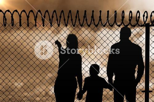 Composite image of family holding hands while standing