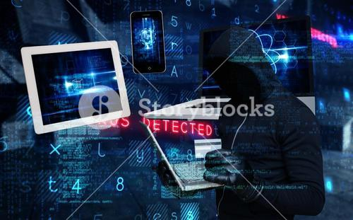 Composite image of hacker holding laptop and credir card