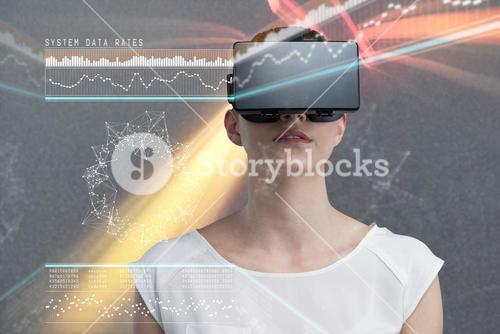 Composite image of serious woman using virtual reality simulator