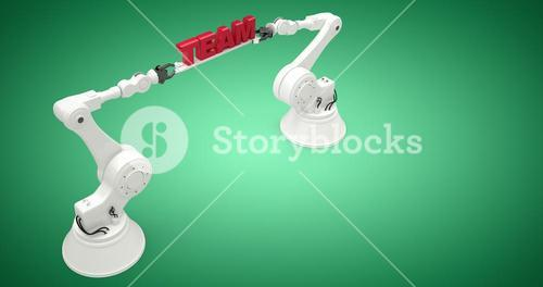 Composite image of high angle view of robots holding team text 3d