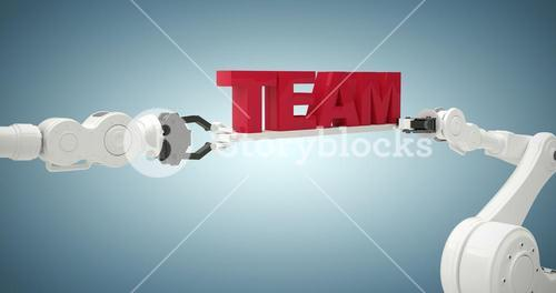 Composite image of graphic image of robots holding team text 3d