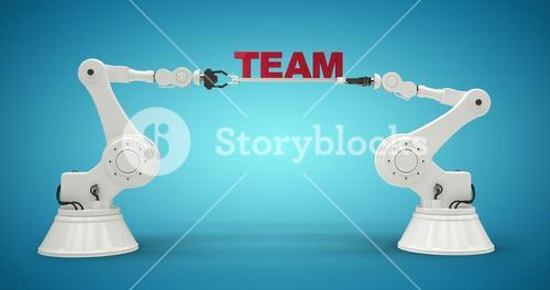 Composite image of graphic image of robotic arms holding text 3d