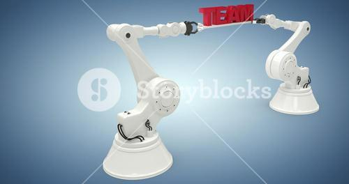 Composite image of graphic image of robotic arms with text 3d