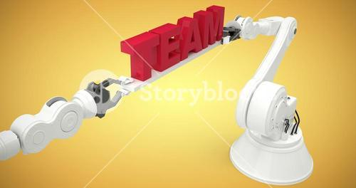 Composite image of graphic image of robotic arms with red text 3d