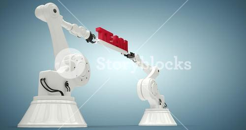 Composite image of low angle view of robots holding team text 3d