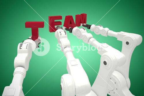 Composite image of composite image of robots forming team text 3d