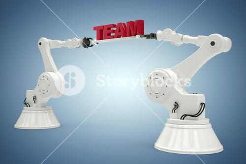 Composite image of composite image of robotic arms with team text 3d