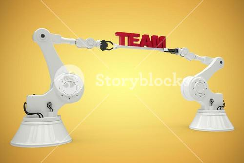 Composite image of composite image of robots with team text 3d
