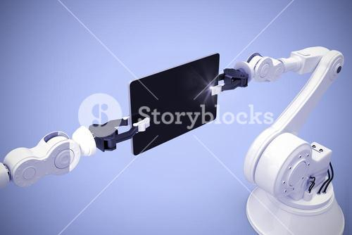 Composite image of digital generated image of robots holding computer tablet 3d