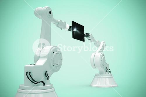 Composite image of graphic image of robots with computer tablet 3d
