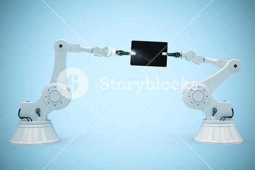 Composite image of robots and digital tablet against white background 3d