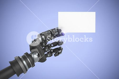 Composite image of computer generated image of robotic arm holding white placard 3d