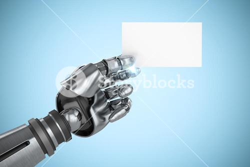 Composite image of computer graphic image of robotic arm holding placard 3d