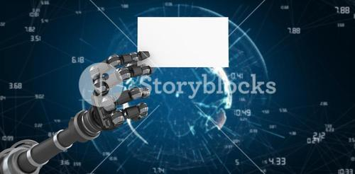 Composite image of robotic arm holding white placard 3d