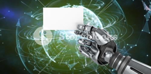 Composite image of computer graphic image of robotic arm holding placard