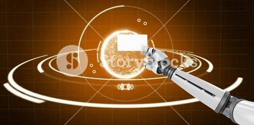 Composite image of computer graphic image of white robotic arm holding placard 3d