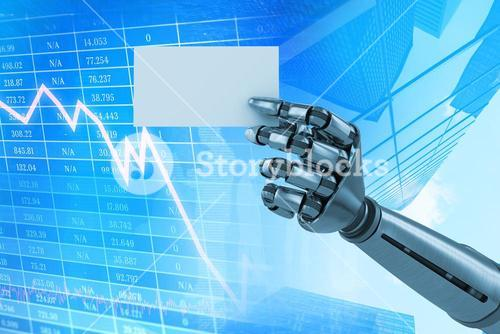 Composite image of composite image of robotic arm holding white placard 3d