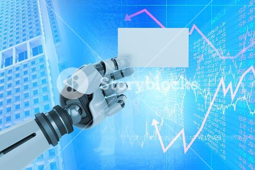 Composite image of digital composite image of white robotic arm holding placard 3d