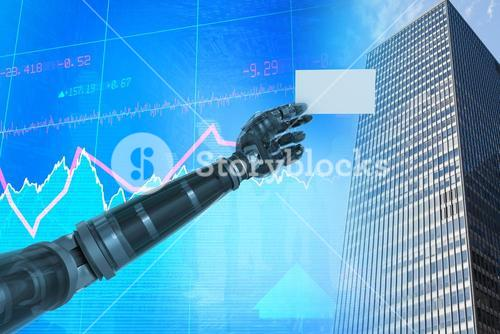 Composite image of cropped image of digital robotic arm holding blank 3d