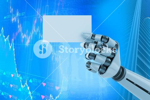 Composite image of digitally generated image of white robotic arm holding placard 3d