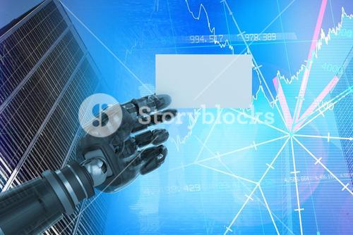 Composite image of cropped image of digital composite robotic arm holding blank placard 3d