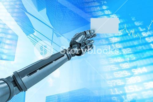 Composite image of graphic image of robotic arm holding placard 3d