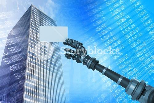 Composite image of digital composite image of robotic arm holding white placard 3d