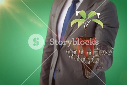 Composite image of digitally generated image of potted plant, 3d
