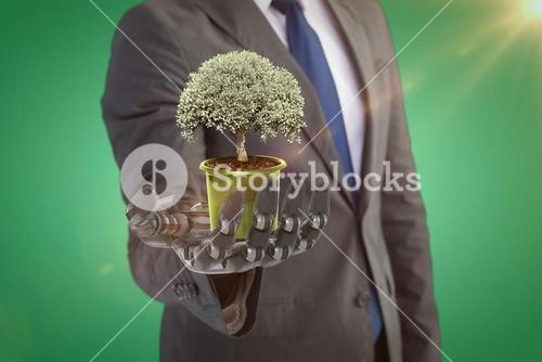 Composite image of potted tree over white background 3d