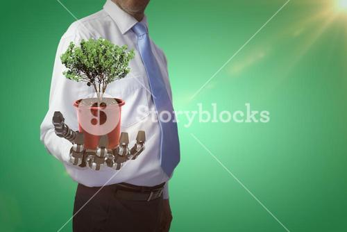 Composite image of potted plant on white background 3d