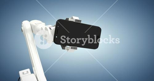 Composite image of graphic image of robot showing smart phone 3d