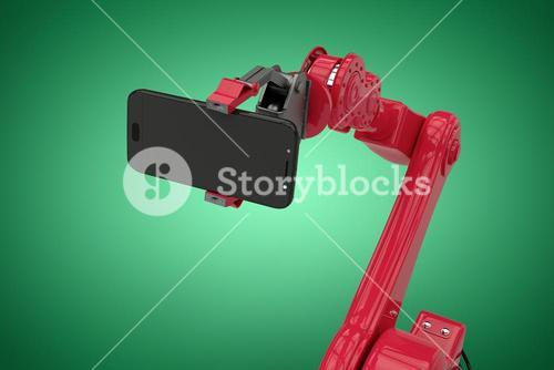 Composite image of composite image of robot holding smart phone 3d