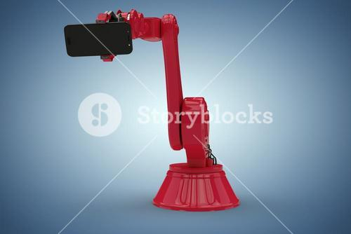 Composite image of composite image of red robot showing mobile phone 3d