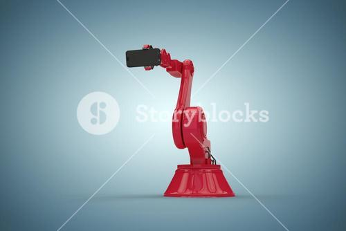 Composite image of digital generated image of robot holding mobile phone 3d