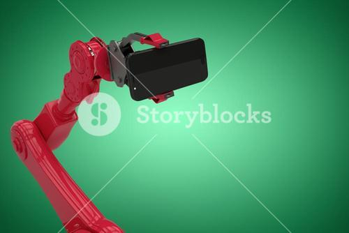 Composite image of digital generated image of red robot holding smart phone 3d