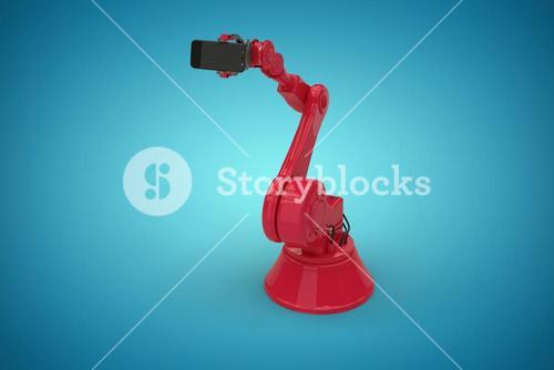 Composite image of digital generated image of robot holding smart phone 3d
