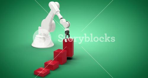 Composite image of composite image of robot with red toy blocks 3d