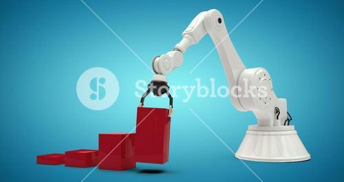 Composite image of composite image of robot arranging red toy blocks 3d