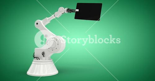 Composite image of digital tablet with robot against white background 3d