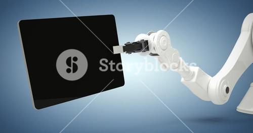 Composite image of digital generated image of robot holding digital tablet 3d