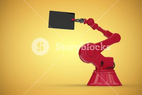 Composite image of digital composite image of red robot and computer tablet 3d