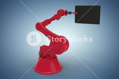Composite image of composite image of red machine holding digital tablet 3d